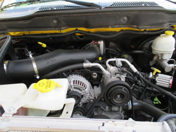 Front view of engine with K&N CAI and crankcase breather installed April 2014.