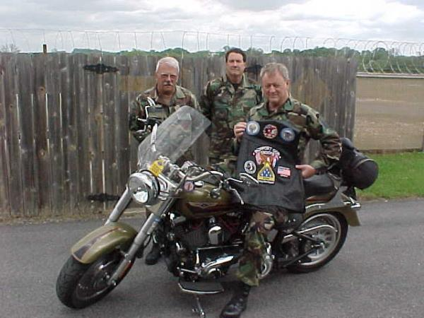 Me and some of my co-workers in uniform, I am on my 2007 Harley Davidson Fatboy.